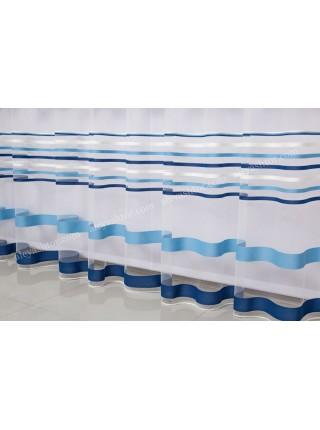 Тюль молочный фатин с сине-голубыми полосками T281MSS