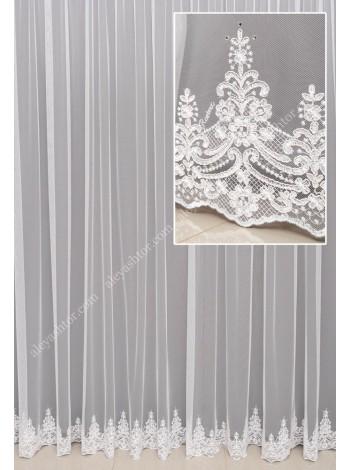Тюль белый фатин с вышивкой, светло-бежевой кордовой нитью, украшенная камнями T933WL в Украине