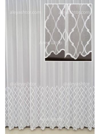 Тюль белый Бамбук с абстрактной вышивкой и люрексовой ниткой T959W в Украине