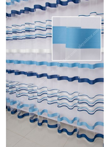 Тюль молочный фатин с сине-голубыми полосками T281MSS в Украине