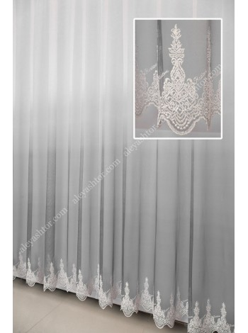 Тюль грег-сетка омбре/градиент бело-серого цвета с вышивкой по низу T902C в Украине
