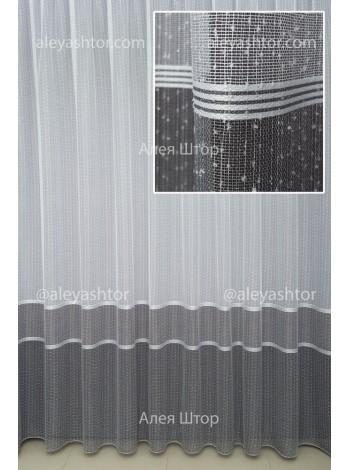 """Тюль белый буклированный лён с серыми полосками и вышивкой """"мережка"""" T960WC в Украине"""
