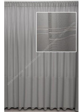 """Тюль жаккард серый с лёгким рисунком цветов и вышивкой """"мережка"""" T534C в Украине"""