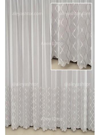 Тюль белый Бамбук с серой абстрактной вышивкой и люрексовой ниткой T959WC в Украине