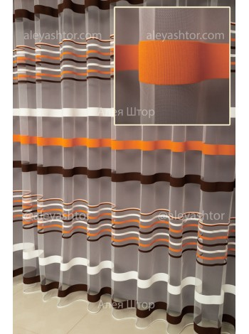 Тюль белый фатин с коричнево-оранжевыми полосками T281MBGG в Украине