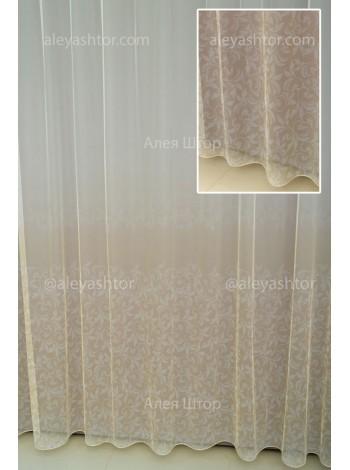 Тюль T969WG грег-сетка омбре/градиент бело-золотого цвета с растительным рисунком в Украине