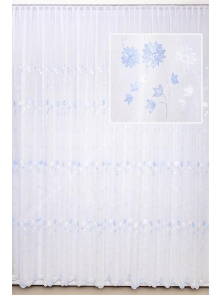 Тюль белый шифон с бело-голубой вышивкой T716WS