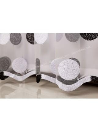 Тюль белый фатин с бело-чёрной вышивкой T287WZ