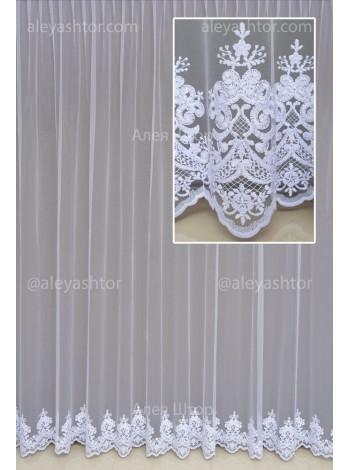 Купити Тюль білий фатин з вишивкою T950W в Україні