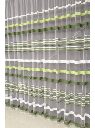 Тюль белый фатин с бело-зелёными полосками T281MHH