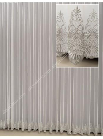 Тюль грег-сетка молочного цвета с серой вышивкой по низу T293MC в Украине