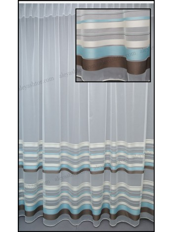 Тюль белый фатин с бирюзово-коричневыми полосками T281WDB