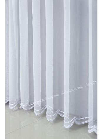 Тюль белый фатин с вышивкой T289W