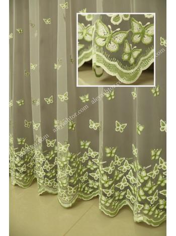 Тюль молочный фатин с молочно-зелёной вышивкой T295MH в Украине