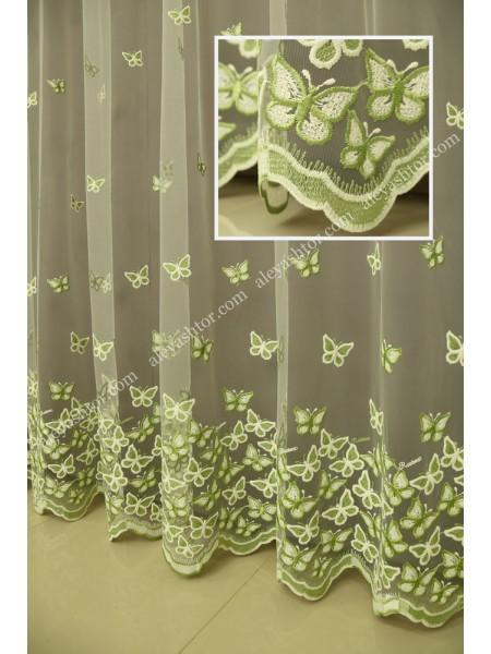 Тюль молочный фатин с молочно-зелёной вышивкой T295MH