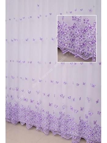 Купить Тюль белый фатин с молочно-фиолетовой вышивкой T295WF в Украине
