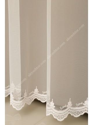 Тюль грег-сетка молочного цвета с вышивкой по низу T296M