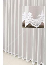 Тюль грег-сетка белого цвета с вышивкой по низу T296W
