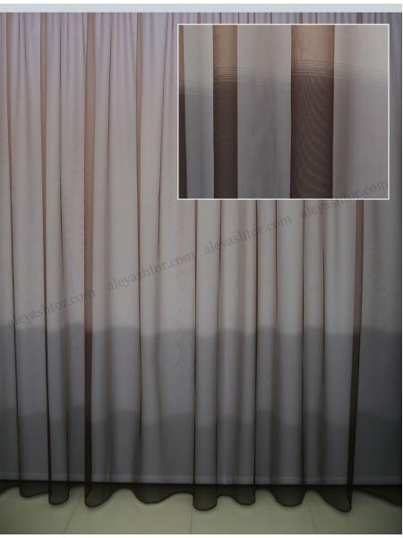 Тюль кристалон с коричневым омбре T452B