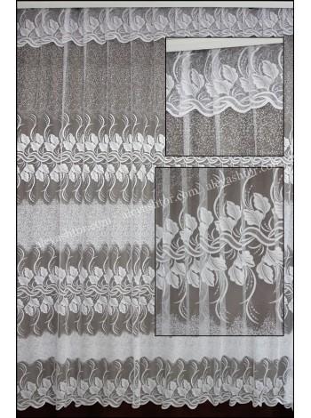 Тюль жаккард белый с цветами T505W в Украине