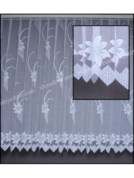 Тюль жаккард белый с цветами T520W