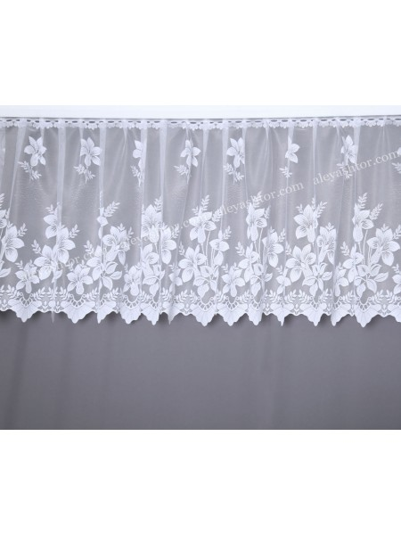 Тюль жаккард белый с цветами T528W