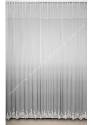 Тюль грег-сетка омбре/градиент бело-серого цвета с вышивкой по низу T902C