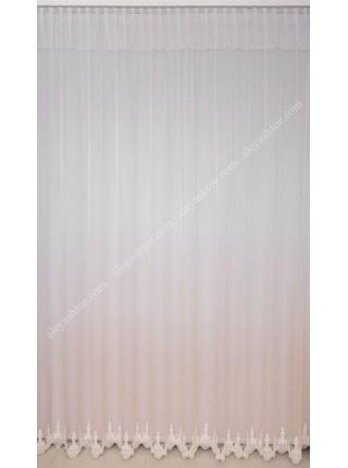 Тюль грег-сетка омбре/градиент молочного-бежевого цвета с вышивкой по низу T902L