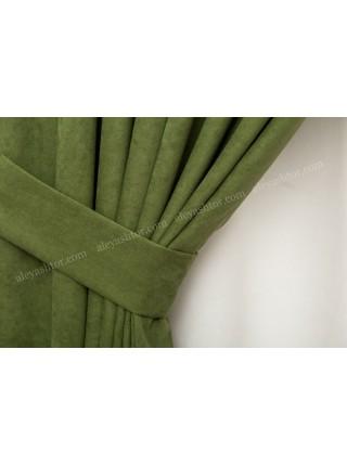 Шторы зелёного(11) цвета из микровельвета Diamond BB42H3