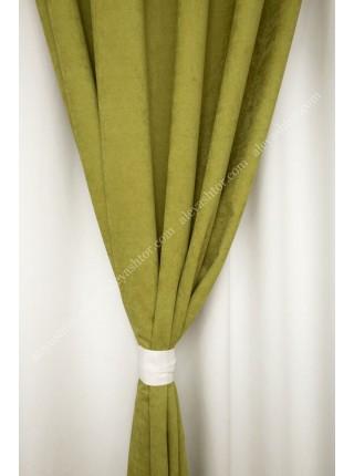 Комплект двойных штор оливково-зелёного(10) и молочного цветов из микровельвета Diamond W BB48H2