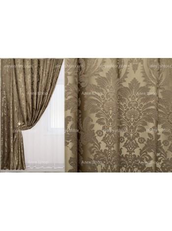 Шторы из жакккардовой ткани Элит (302) EL04LB бежево-коричневого цвета в Украине