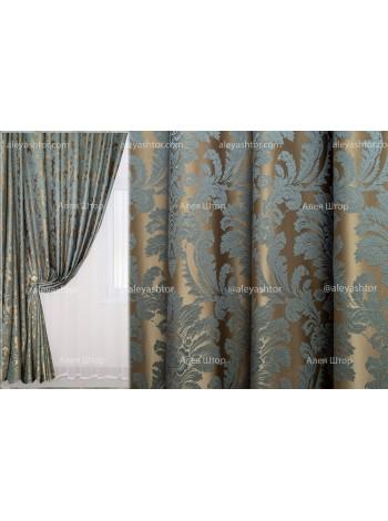 Шторы из жакккардовой ткани Элит (303) EL05LD бежево-бирюзового цвета в Украине