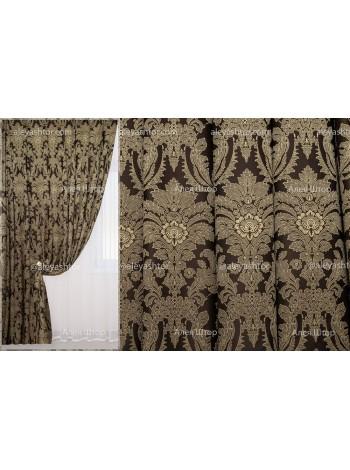 Шторы из жакккардовой ткани Элит (751) EL09BL коричнево-бежевого цвета в Украине