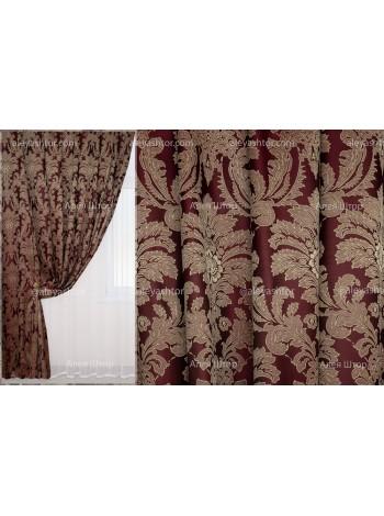 Шторы из жакккардовой ткани Элит (801) EL10XL бордово-бежевого цвета в Украине