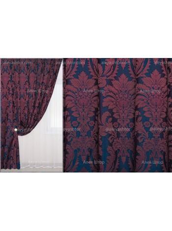 Шторы из жакккардовой ткани Элит (851) EL11XSS сине-бордового цвета в Украине