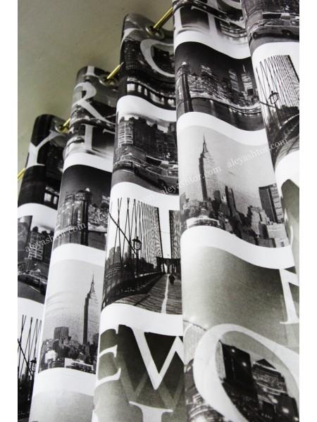 Комплект штор из льна на люверсах города Q01BW